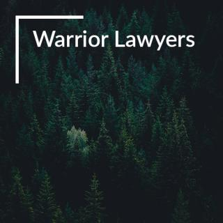 "Forest, with text ""Warrior Lawyers"""