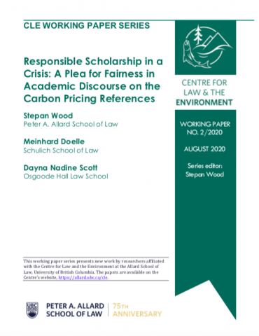 "Cover page of CLE working paper entitled ""Responsible Scholarship in a Crisis: A Plea for Fairness in Academic Discourse on the Carbon Pricing References"""