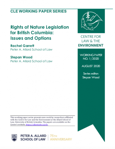 "cover page of CLE working paper entitled ""Rights of Nature Legislation for British Columbia: Issues and Options"""