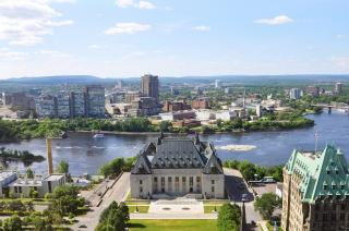 An aerial view of the Supreme Court of Canada